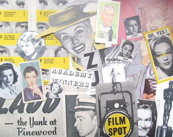 Vintage Hollywood movies paper ephemera pack: 50 paper, die cuts, clippings. Embellishments for scrapbooks, collage, art journals. EP553