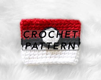 Pokeball Coffee/Tea Cup Cozy | crochet cup cozy | crochet pattern | pokemon | picture tutorial | digital pattern | instant PDF download