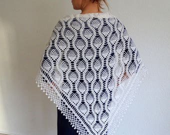 lace crochet shawl, crochet wrap, lace shawl, knit shawl, wedding shawl, triangular shawl, knit wrap, knit cowl, cover up, ready to ship