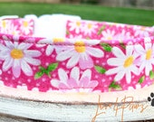 Cute Pink Spring and Summer Daisy Flowers Adjustable Dog or Cat Collar