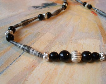 Paper beads necklace striped Spindle beads black silver metal women necklace