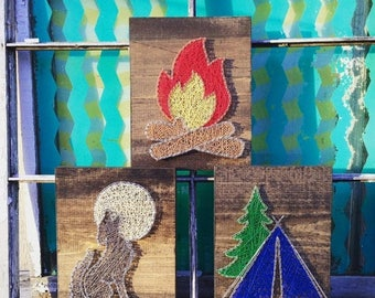 SALE Camping Set of String Art Signs, String Art Tent, Campfire Wall Art, Howling Wolf Sign, Custom Set of Nursery Sign, Woodland Baby Decor