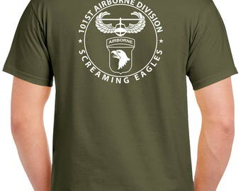 101st Airborne T-Shirt - 2 Sided Tee - Paratrooper - 1112-2