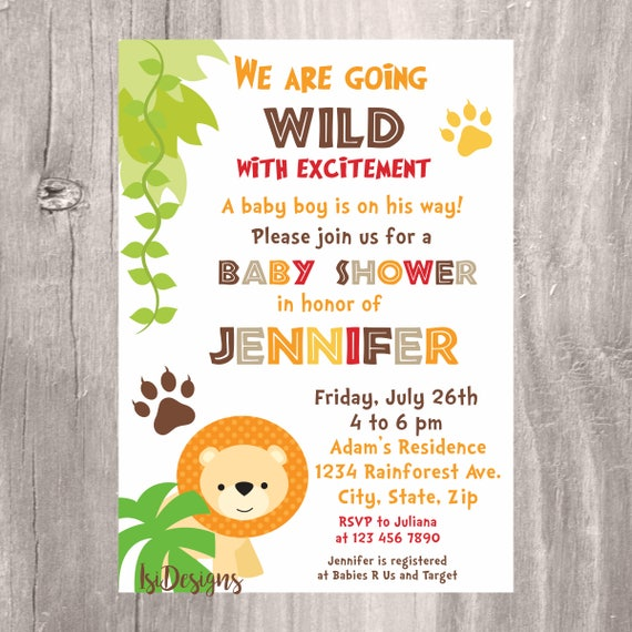 Safari baby shower invitation printable jungle baby shower invite