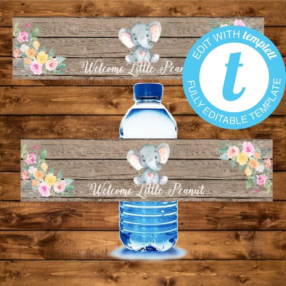 Pink Elephant Water Bottle Label Editable Elephant Baby