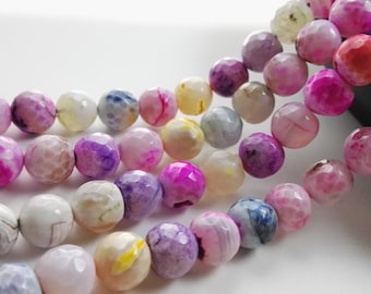 8mm 10mm Pink Agate Beads , Mixed Color Agate , Faceted Agate Beads  , Gemstone Beads , Make your own Jewelry,  Findings, wholesale beads