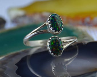 Navajo handmade sterling silver and black fire opal adjustable ring