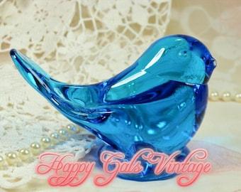 Bluebird Glass Figurine / Glass Blue Bird / Blue Glass Bird / Blown Glass Bluebird / Art Glass Bluebird / Glass Bird / Bluebird Art Gift