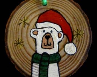 "Wooden 2"" Polar Bear Christmas Ornament"