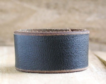 CUSTOM HANDSTAMPED distressed black leather cuff by mothercuffer