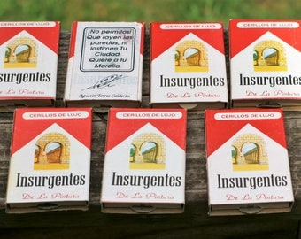 Vintage Design based on the Marlboro Cigarette Pack Mexican Matches with Pictures/7 Packs with Contents