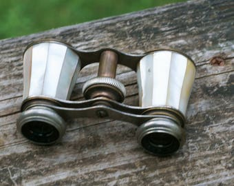 Antique Chevalier Opera Glasses with a Brass and Metal Frame with Mother-Of-Pearl