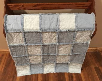 Baby Blue Infant Rag Quilt