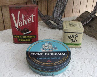 Misc. Tins Velvet Tobacco, Bin 56 Tobacco, and Flying Dutchman Tobacciana Vintage Bins and Boxes and Tins