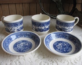 Blue Willow Ware Dessert Bowls (2) and Coffee Cups (3) Vintage Dinnerware and Replacements
