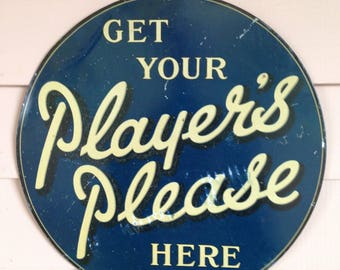 Vintage  Player's Please  Tin Advertising Sign