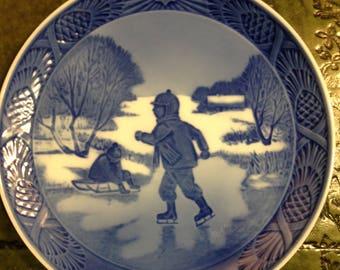 Royal Copenhagen Porcelain Plate - Little Skaters - 1965