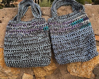 Set Of Two Crochet Market Bags In Sky Blue Mix