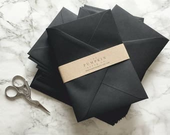 50 4x6 Black Envelopes A6 Envelopes C6 Envelopes for modern wedding invitation envelopes/card making/diy craft True Size 4.1/2 x 6.3/10""