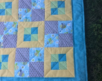 Baby Quilt, Baby Gift, Baby shower, Patchwork Baby Quilt, Blue Baby Quilt, Baby Blanket