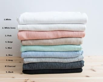 Slub Solid Cotton Knit Fabric, Slub Texture Fabric by Yard - 9 Colors Selection