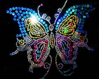 large transfer 26 x 25 cm Butterfly rhinestone multicolor iron to iron
