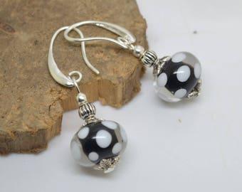 Earrings 925 Silver hooks white black Lampwork Glass Beads