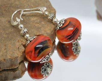 Earrings red black Lampwork Glass Beads orange 925 Silver hooks