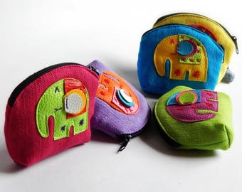 25 Elephant coin purses mixed color - Gift