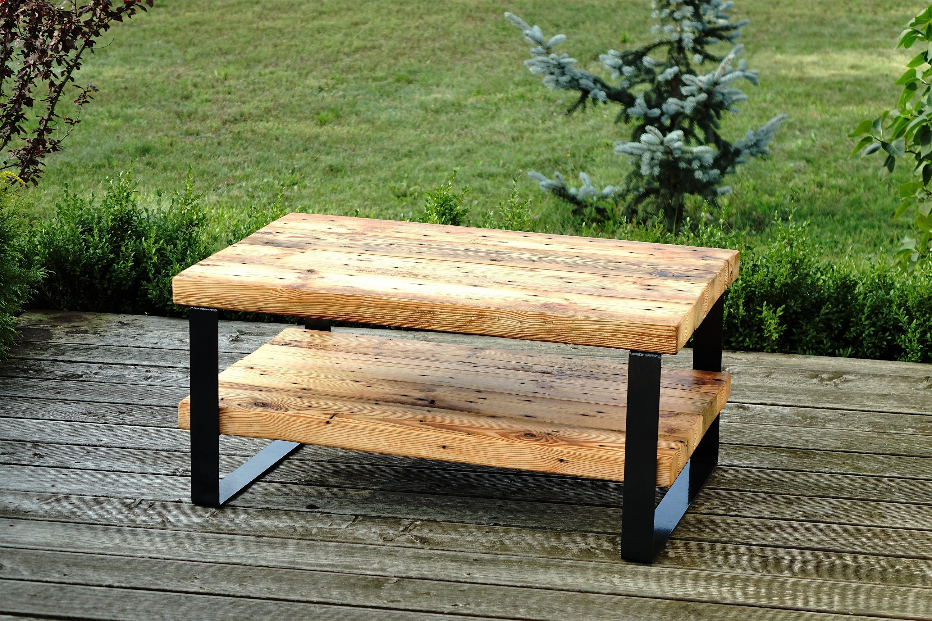 Reclaimed Wood Beam Coffee Table With Shelf , 2 Level