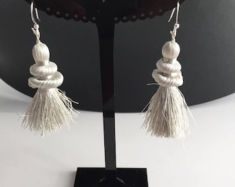 Earring collection rustle while sewing for woman or teen single silver white color thread