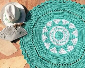 Way jacquard crochet rug
