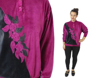 Velvet Sweater, Velvet sweatshirt, Vintage sweater, Pink velvet shirt, Womens sweatshirt, Floral sweatshirt, Black sweatshirt / Medium Large