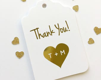 Wedding Favor Tags, Gold Foil Thank You Initials in Heart, Kraft Custom Wedding Tags, Custom Wedding Hang Tags  (ST-103-F)