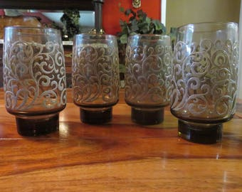 Beautiful Vintage Libby Tawny Brown Beverage Glasses With Raised Swirl Design Set of Four