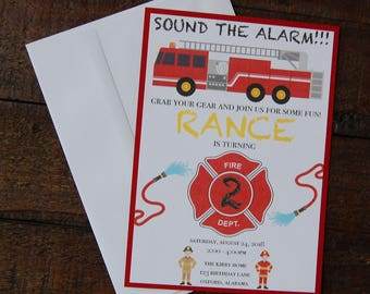Fireman Birthday Invitation, Fireman Invitation, Fire Truck Invitation, Fire Truck Birthday Invitation