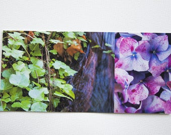 "Purple long ""nature"" Ivy and hydrangea card printed on cotton paper fine art"