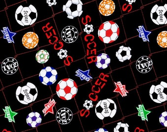 Soccer Ball Cotton Fabric Sold by the yard