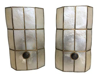 1950s Capiz Shell Sconces, Pair