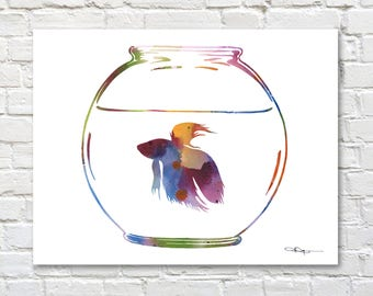 Betta Fish Art Print - Abstract Watercolor Painting - Wall Decor