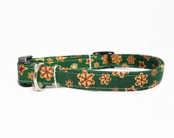 """Dog Collar - """"Christmas Time"""" - Forest Green/Red/Gold/Stars - Festive Christmas Dog Collar - Winter Dog Collar - Durable Cotton Dog Collar"""