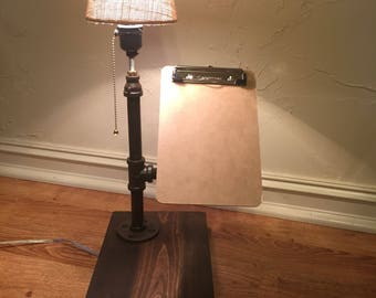 Pipe Lamp with Clipboard