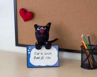 Cat Dry Erase - cat lover gift - coworker gift - cute desk accessory - new job gift - cute office decor - dorm decor - black