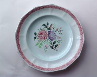Adams Calyx Ware  12 sided Plate Mandalay Pattern  Pink Floral Vintage Dinner Plate