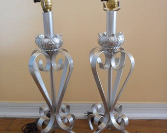 Pair of Silver Painted Wrought Iron Large Table Lamps with Ornate Details and Scrolls ~ FREE SHIPPING