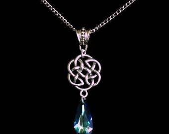Outlander Inspired, Celtic Necklace with Swarovski Bermuda Blue Crystal pendant.