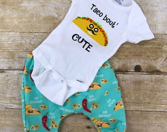 Taco Bout' CUTE pants and ONESIE ® or t shirt outfit, coming home outfit, newborn outfit, toddler outfits, infant outfit, shower gift