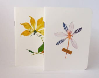 SET OF 2 - pressed flower series 1 - Roels notebooks - size A6