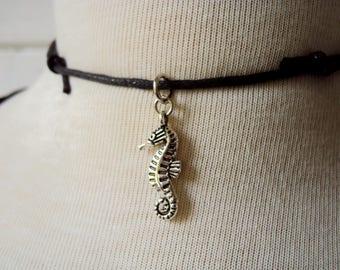 Seahorse Necklace ~ Seahorse Choker Necklace ~ Black Cord Pendant Necklace