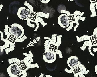 Glow in the Dark Astrocats on Black cotton woven fabric by Timeless Treasures